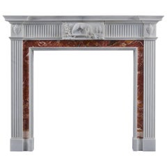 Antique Neoclassical Fireplace Mantel Style in Jasper and Statuary Marbles