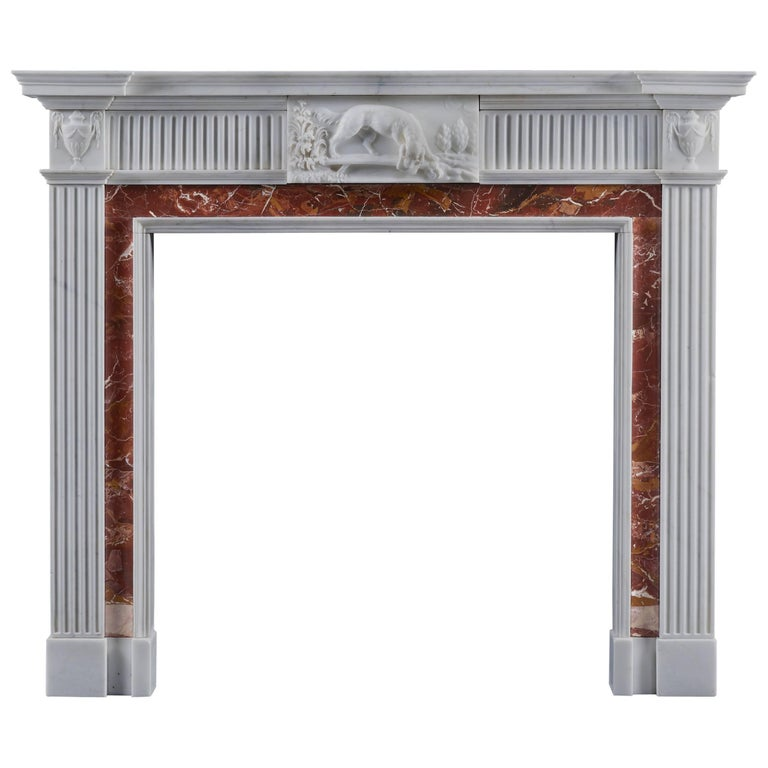 Antique Neoclassical Fireplace Mantel Style in Jasper and Statuary Marbles For Sale