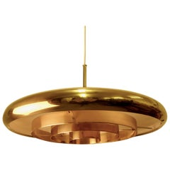 Large Swedish Brass Pendant, 1960s
