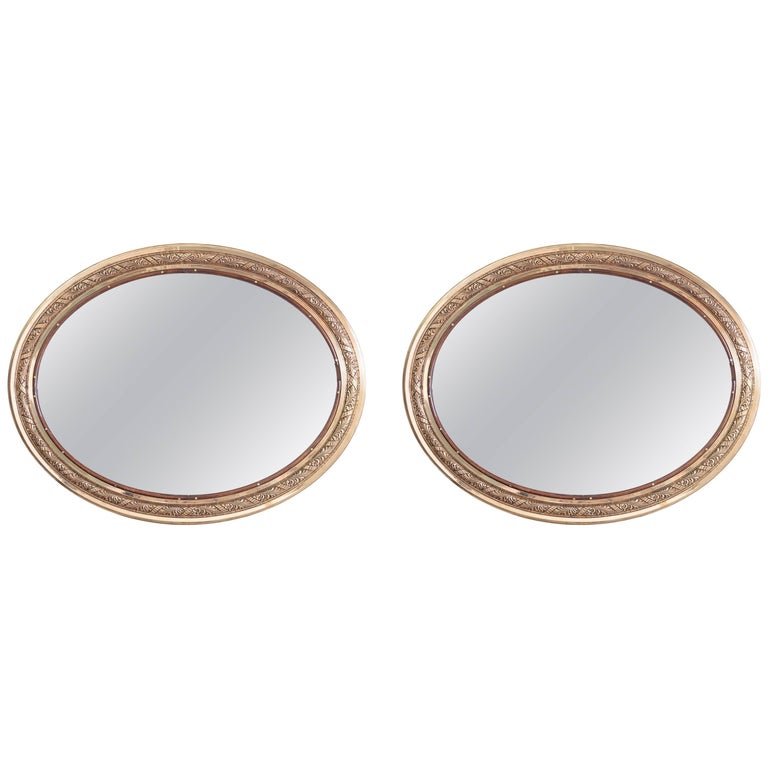 Pair of Bronze Oval Mirrors, RMS Olympic