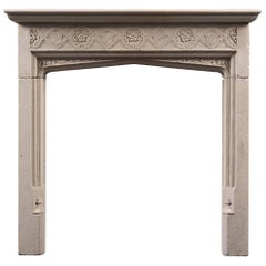 Antique Tudor Revival Fireplace Mantel in Portland Stone