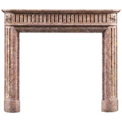 Antique French Louis XVI Style Fireplace Mantel in Brocatello Marble