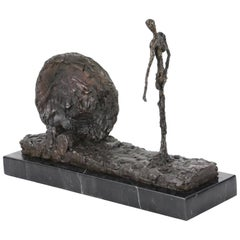 Walking Man Landscape, Bronze Sculpture in the Manner of Alberto Giacometti