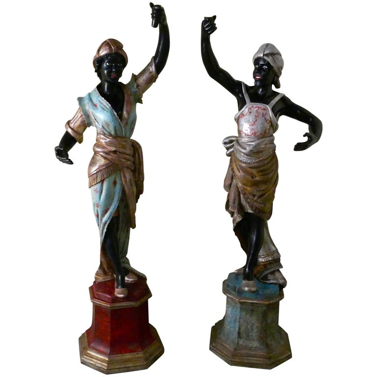 Lifesize Pair of Italian Carved Wooden Blackamoors or Nubians