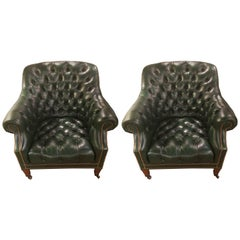 Yummy Pair of Dark Green Leather Tufted Club Chairs