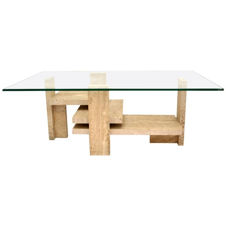 1960s Sculptural Travertine Coffee Table with Rectangular Glass Top