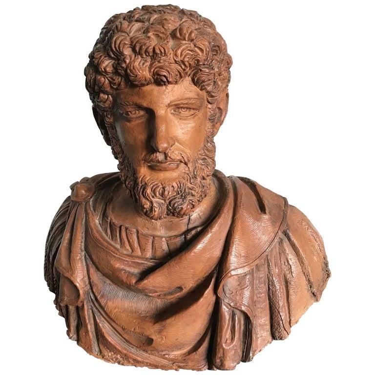 Antique Italian Terracotta Bust Sculpture of Lucius Verus, circa 1880