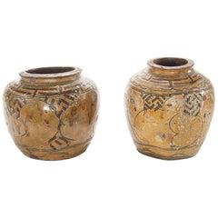 Two of a Pair of 19th Century Glazed Asian Pots