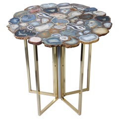 1960s Vintage Agate Top, Brass and Chrome Legs, Side Table
