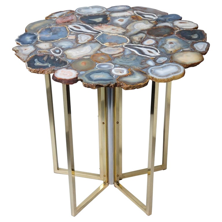 1960s Vintage Agate Top Br And Chrome Legs Side Table For