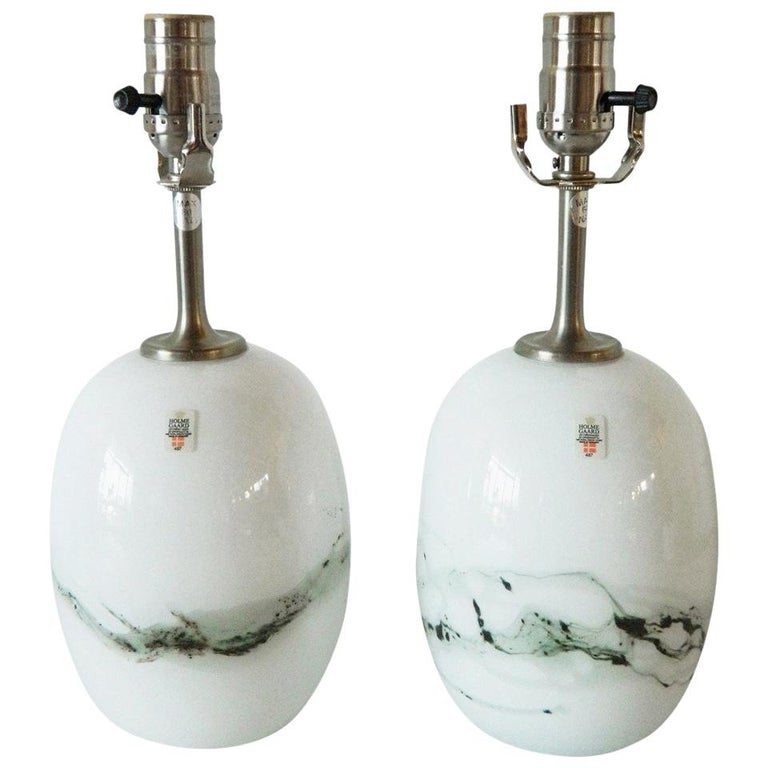 Pair Of Michael Bang Glass Lamps For Holmegaard For Sale