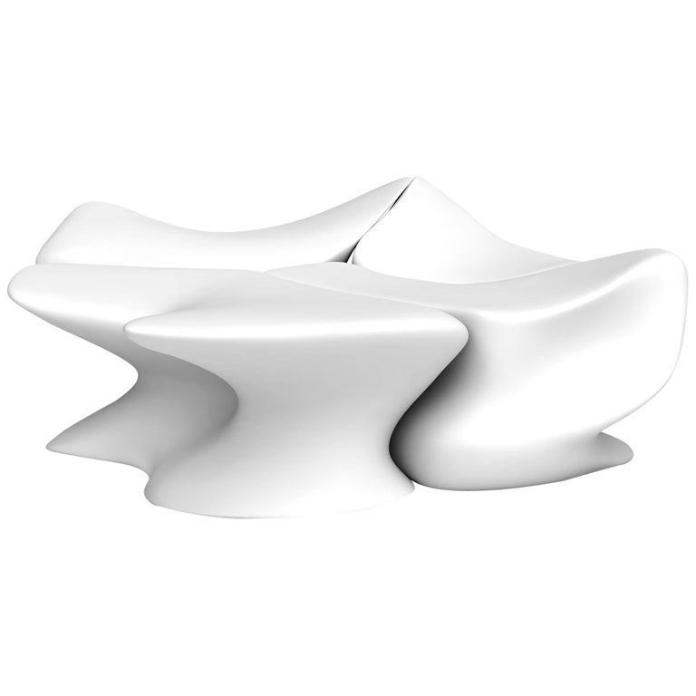 "Zaha Hadid White ""Nekton"" Stools for Established & Sons"
