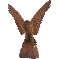 Large Black Forest Eagle of Carved Wood