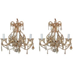 Wonderful Pair Beaded Gold Gilt Italian Crystal Chandeliers Five-Light Fixtures