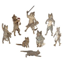 Antique Set of Eight Viennese Cold Painted Bronze Cats