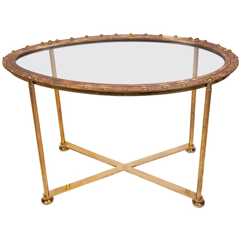 Rare Brass Lifeboat Porthole Converted to Table, 1980s