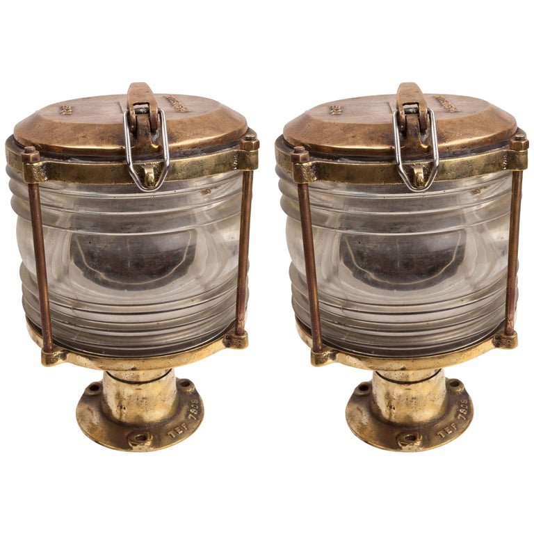 Pair of Brass and Fresnel Lens Nautical Navigation Lights, 1970s