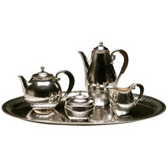 "Georg Jensen Sterling SIlver 1930's ""Cosmos"" Coffee and Tea Service with Tray"