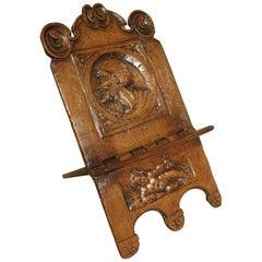 Antique Walnut Wood Book Holder, 17th Century