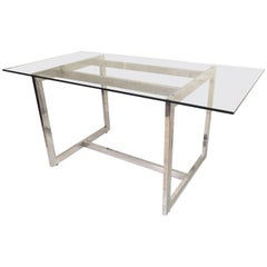 Sleek Midcentury Chrome Dining Table