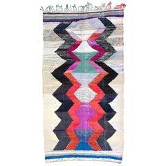Moroccan Kilim, Boucherouite Rug, Contemporary