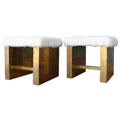Pair of Brass-Plated Benches with Sheepskin Seats, 1970s