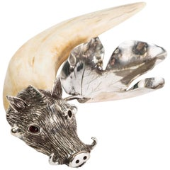 Horn and Silver Leaf Cork Holder with Boar Head