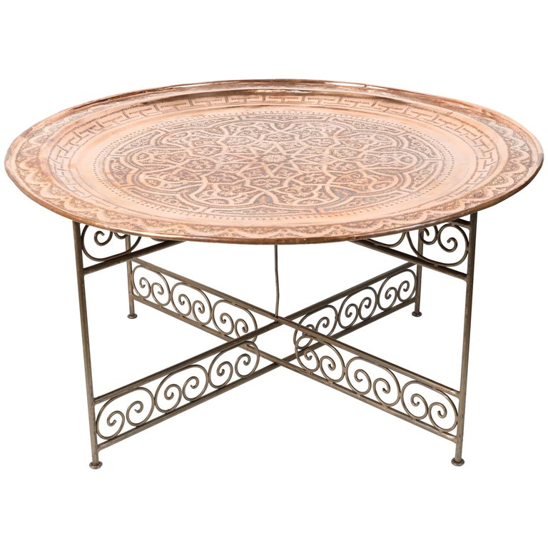 Moroccan Round Metal Tray Table On Iron Base For