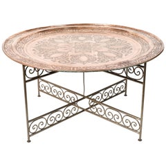 Handcrafted Moroccan Round Copper Tray Table on Iron Base