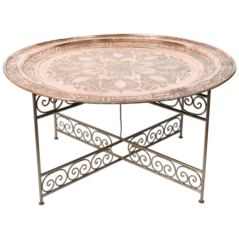 Handcrafted Moroccan Round Copper Tray Table On Iron Base For