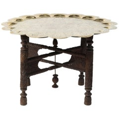 Anglo Indian Hammered Moorish Round Polished Brass Tray Table on Folding Stand