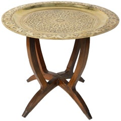 Polished Moroccan Brass Tray Side Table on Spider-Leg 1950