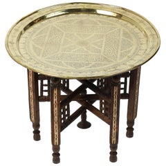 Middle Eastern Syrian Antique Brass Tray Table with Wooden Folding Stand