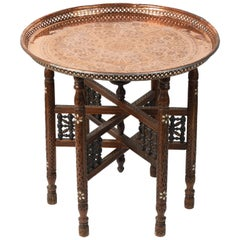 Moroccan Moorish Copper Tray Table with Folding Base