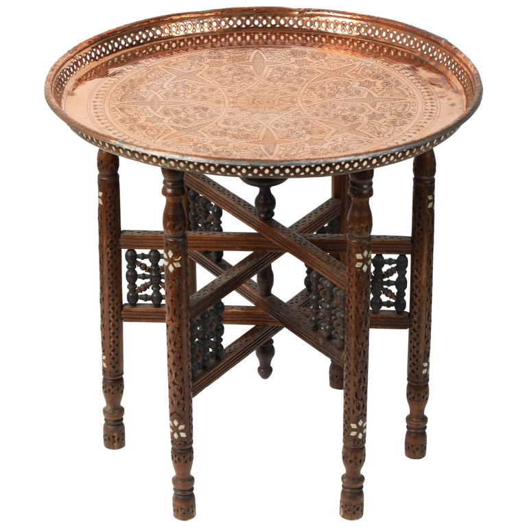 Moroccan Copper Tray Table With Folding Base For