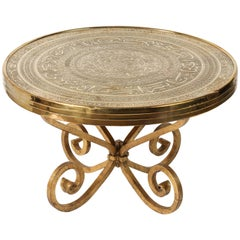 Middle Eastern Syrian Antique Brass Tray Table on Gilt Iron Stand
