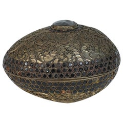 Asian Box in Metal Silvered with Filigree Decoration Black Stones