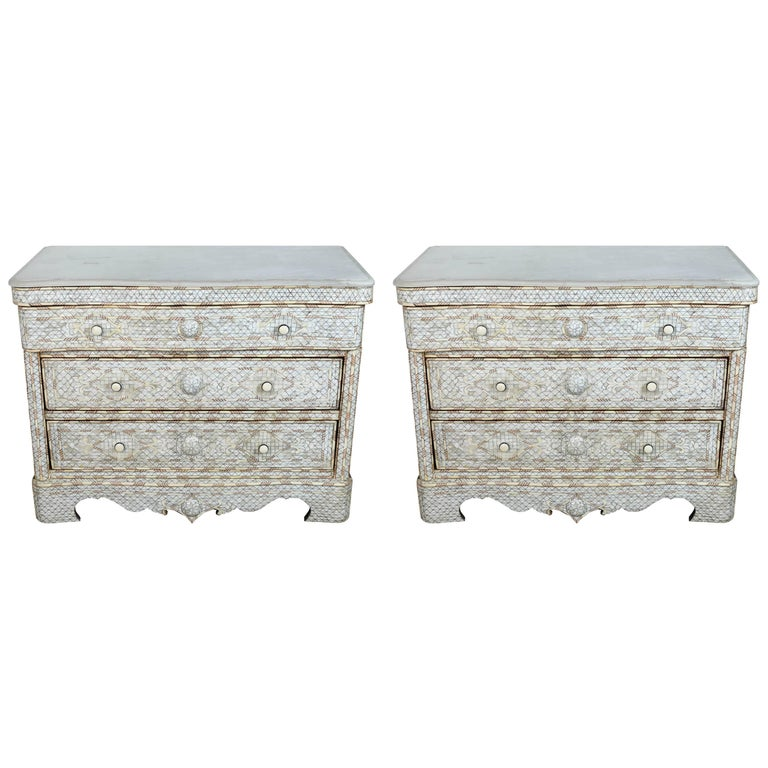 Pair of Syrian White Mother-of-Pearl Inlay Wedding Dressers
