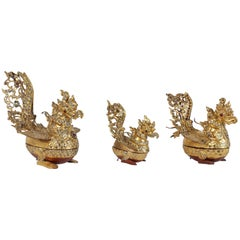 Set of Three Hintha Burmese Bird-Shaped Betel Gold Lacquered Box