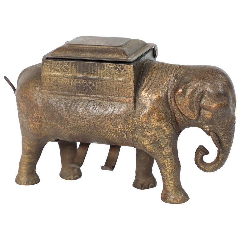 Antique Art Deco Cast Iron Elephant Cigarettes Holder and Dispenser