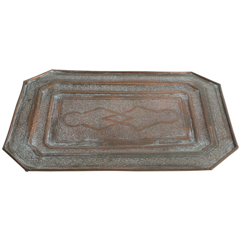 Middle Eastern Octagonal Persian Copper Tray Charger