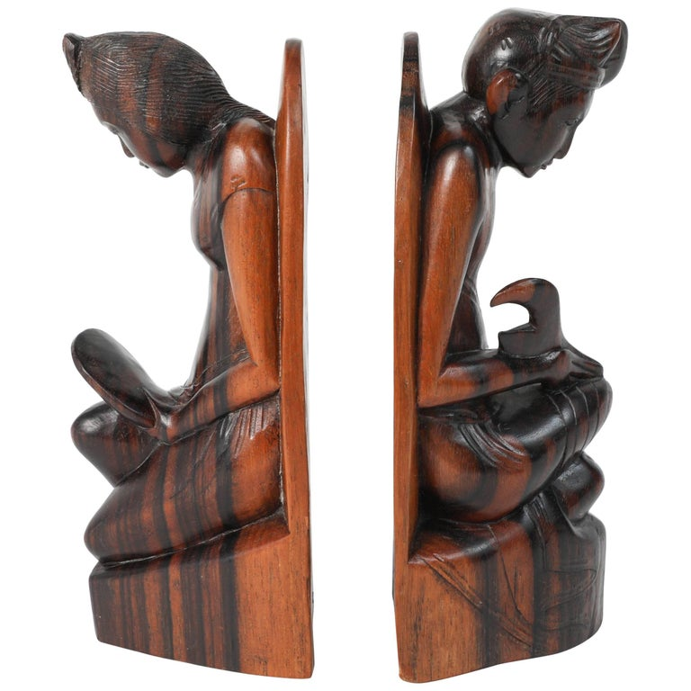 Hand-Carved Wooden Balinese Bookends