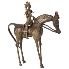 African Brass Sculpture of a Tribal Warrior on Horse