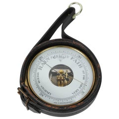 German Brass Barometer Wrapped in Leather, Adnet Style with Readings in English