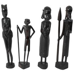 Decorative Hand-Carved African Set of Four Statues from Kenya