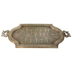 Antique Indian Mughal Rectangular Engraved Brass Serving Tray