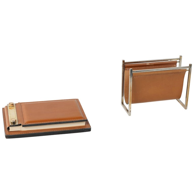 Delvaux Leather and Brass Desk Set Note Pad and Letter Rack
