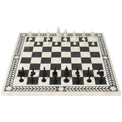 Large Vizagapatam Chess Set with Elaborately Hand-Carved Bone Chess Pieces