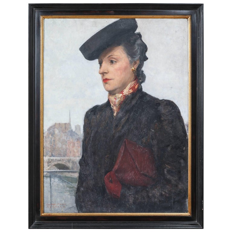 Portrait of a Parisian Woman in a Black Hat by C.P. Bernardo For Sale