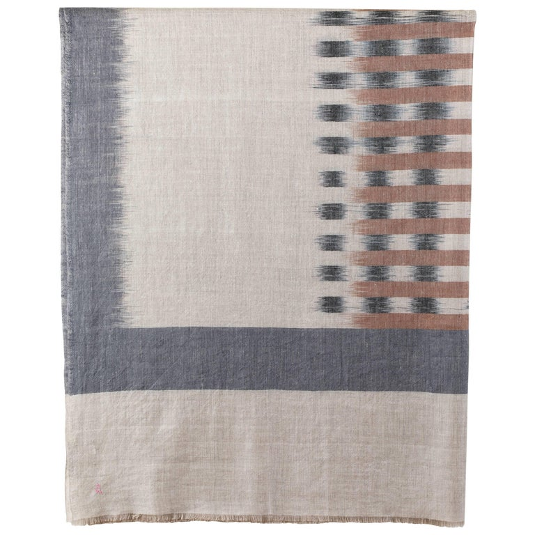 Ikat Woven Cashmere Throw For Sale